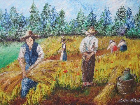 Quadri paesaggi scene campestri n2 pittori e quadri for Quadri dipinti a mano paesaggi