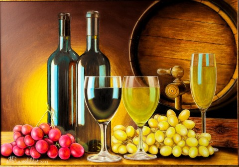 Quadri Natura Morta - Natura morta con botte,uva,bicchieri e ...