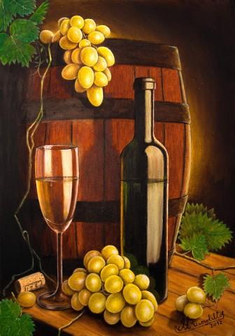 Quadri Natura Morta - Natura morta con botte,uva,calice e ...