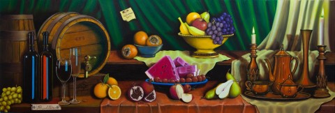 Quadri Natura Morta - Natura morta con botti,vino,frutta e oggetti ...