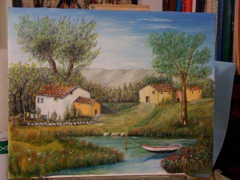 Quadri paesaggi laghetto di campagna pittori e quadri for Quadri dipinti a mano paesaggi