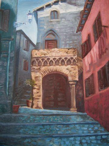 Quadri paesaggi casa gotica a tivoli pittori e quadri for Casa di architettura gotica