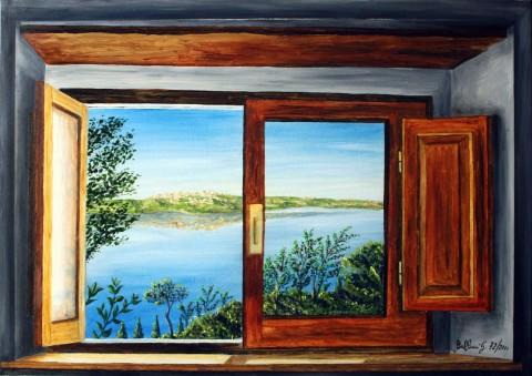 Quadri paesaggi finestra con vista sul lago di - Una finestra sul lago ...